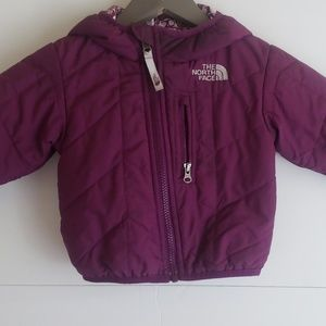 North Face girls puffer jacket purple owl liner
